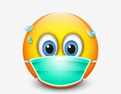 Cute emoticon wearing medical mask - emoji